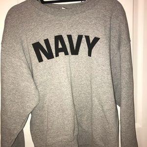 """NAVY"" gray crewneck"